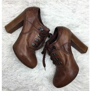 Chloe 37.5 Ankle Booties Boots Brown Leather Lace